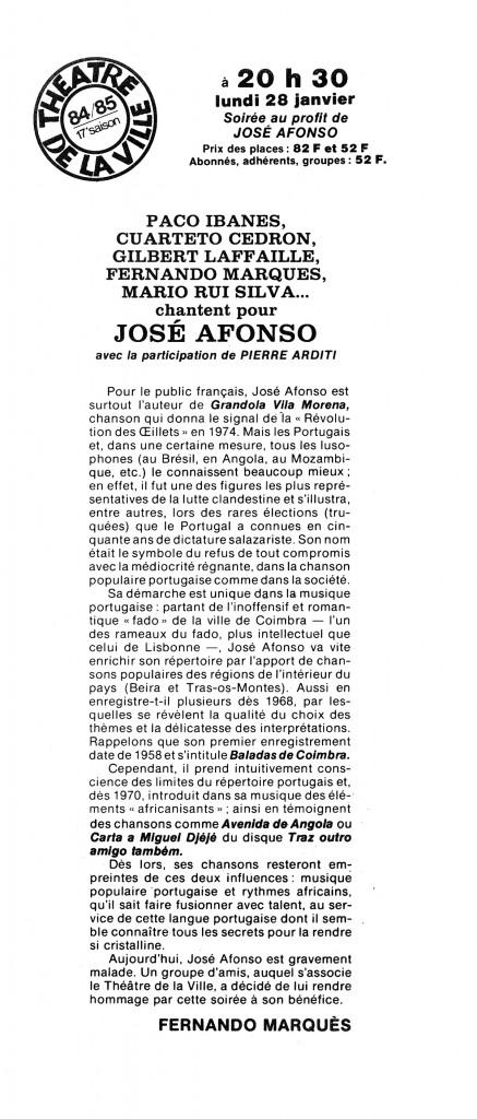Soirée Afonso au Théâtre de la Ville, 1985