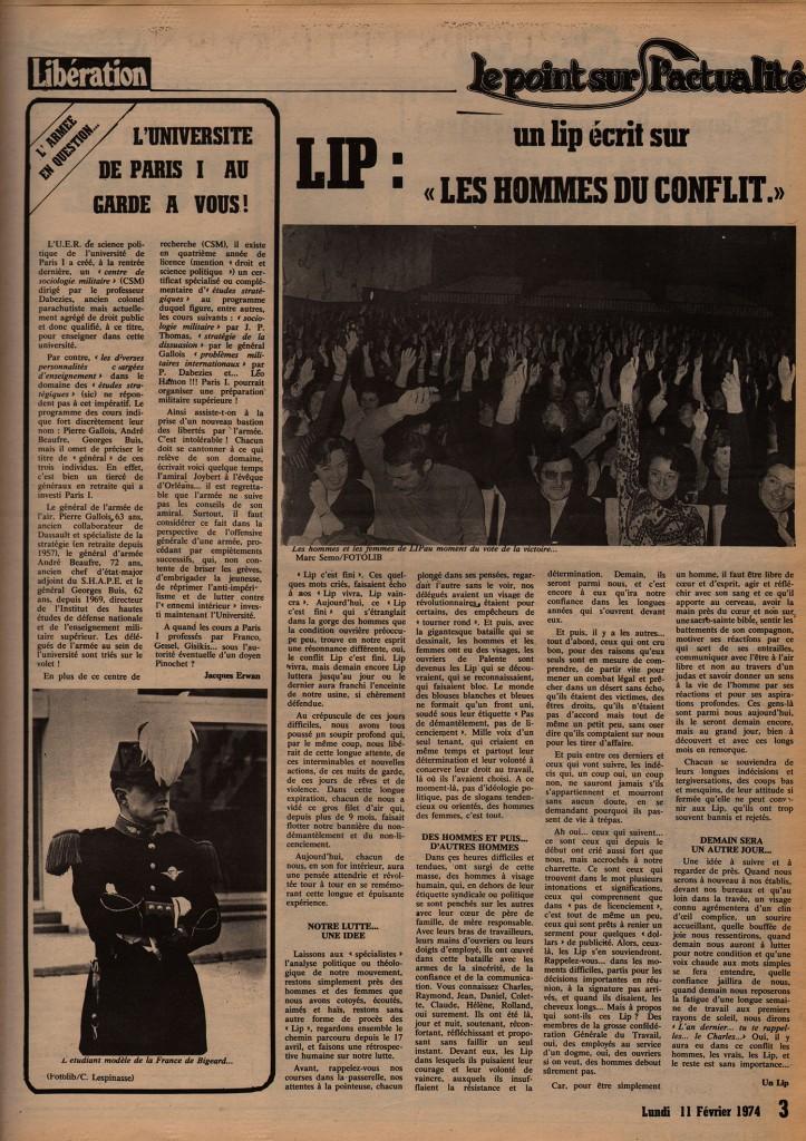 Université Paris I - Libération, 11 février 1974