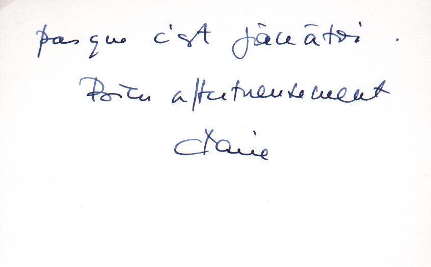 Mot manuscrit de Claire Duhamel (2/2)