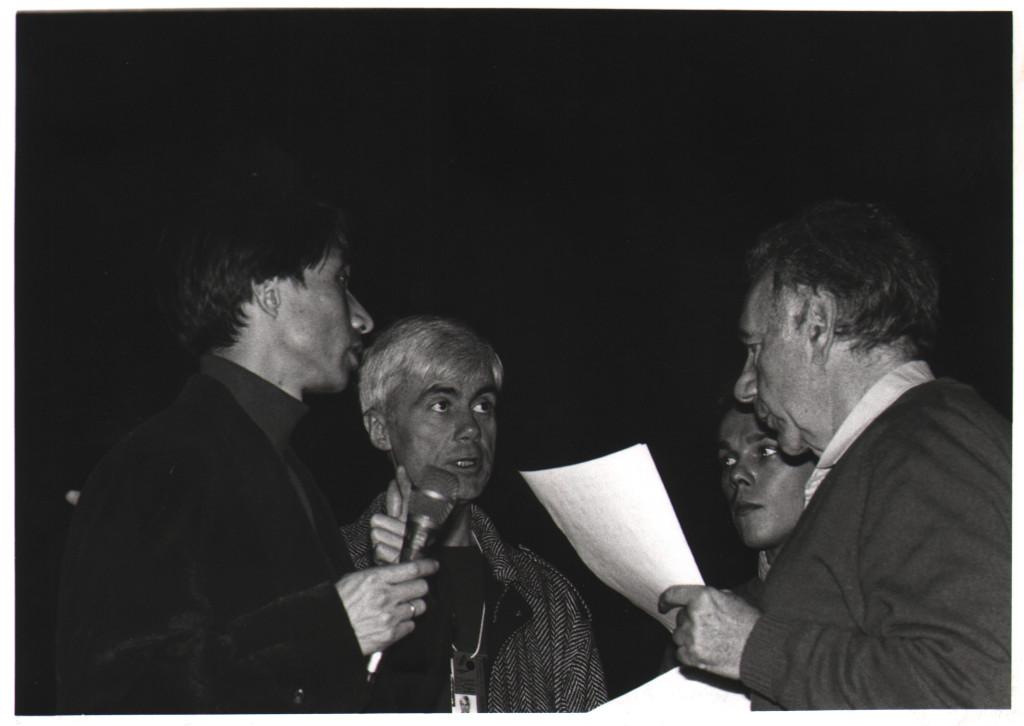 Printemps de Bourges 1988. DE GAUCHE A DROITE, WASABURO FUKUDA, JACQUES ERWAN, UNE PERSONNE NON IDENTIFIÉE ET FRANCIS LEMARQUE. (DR)