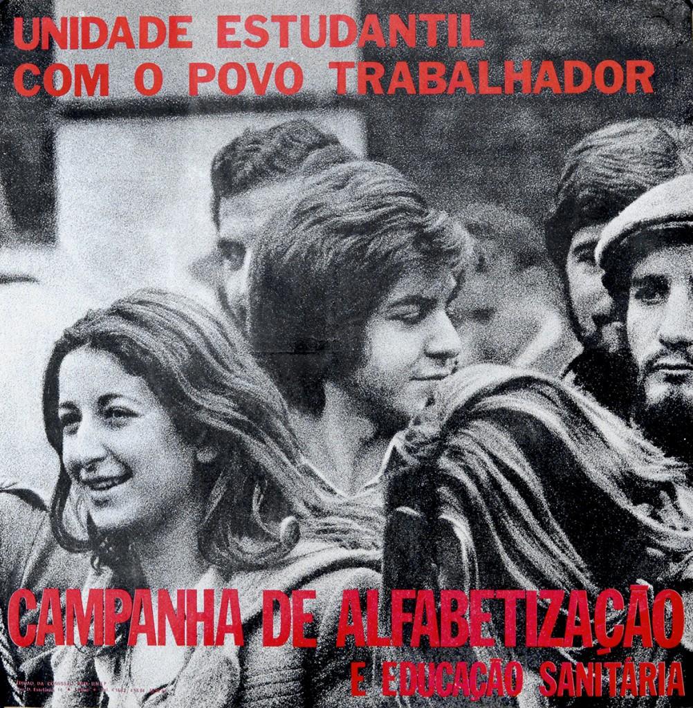 Affiche. Unité étudiante avec le peuple travailleur. Campagne d'alphabétisation et d'éducation sanitaire.