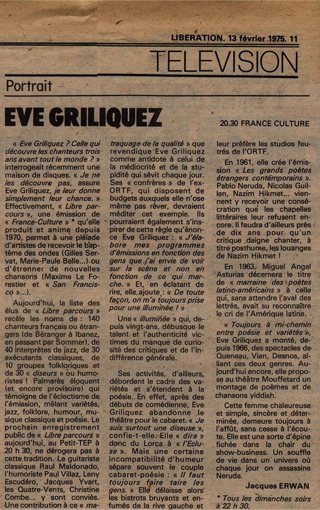 Portrait d'Eve Griliquez - Libération, 13 février 1975