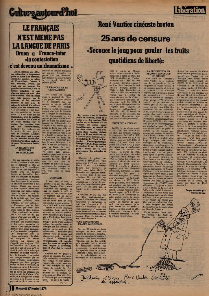 René Vautier, cinéaste Breton - Libération, 27 février 1974