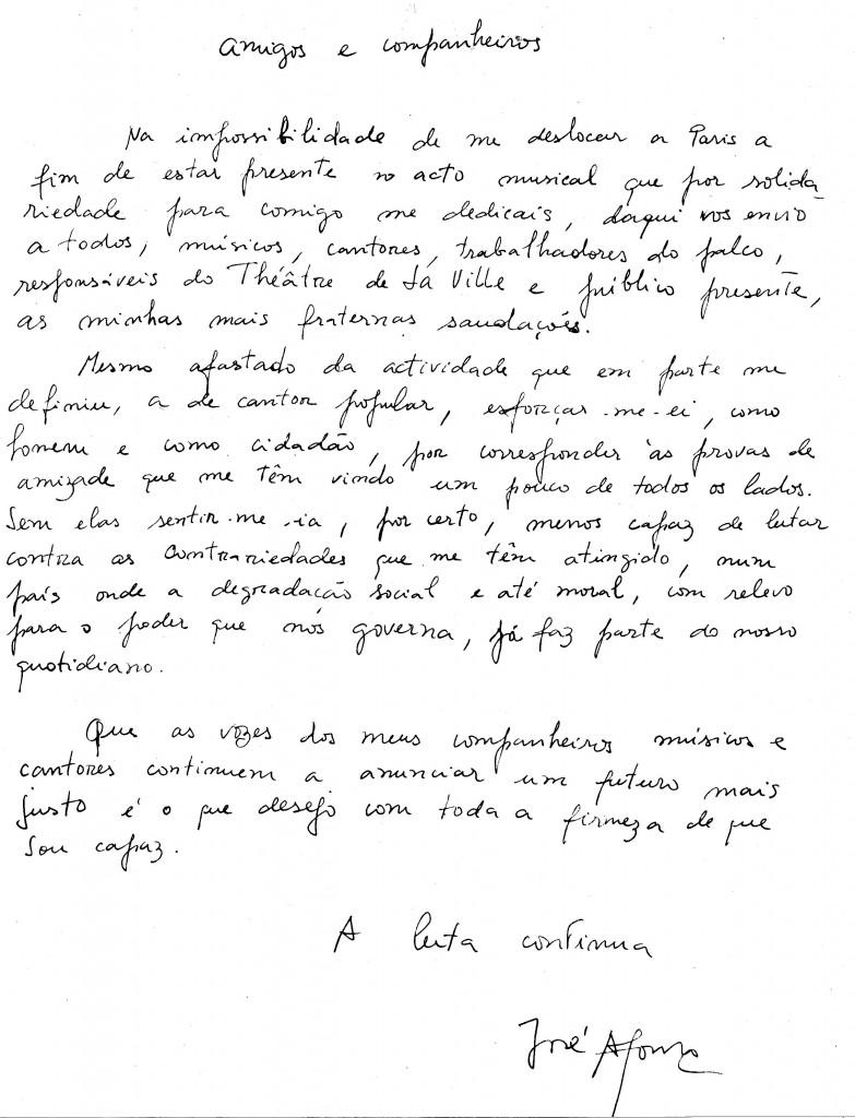 Lettre de José Afonso