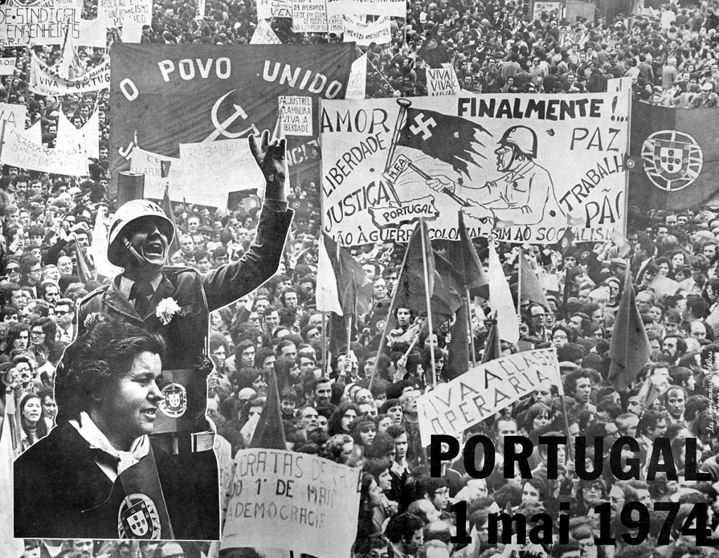 Affiche du premier 1er Mai après la chute de la dictature.