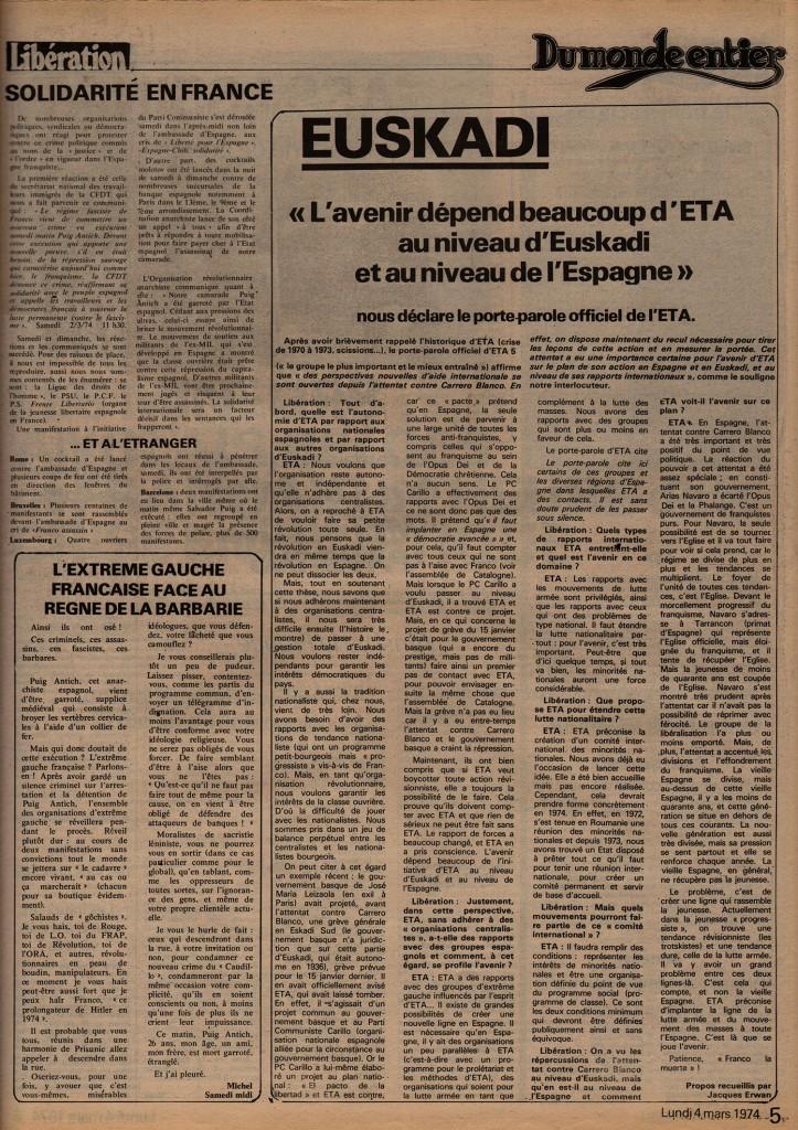 Euskadi - Libération, 4 mars 1974