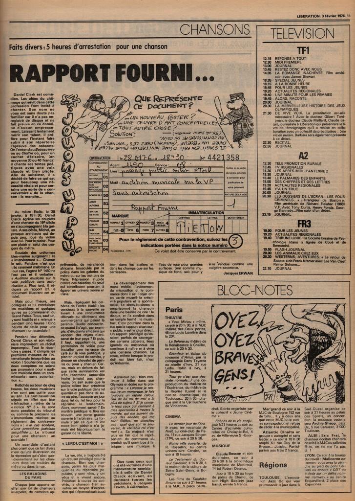 Daniel Clark : Rapport fourni - Libération, 3 février 1976
