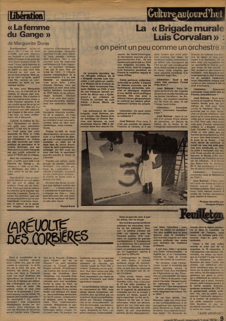 """La """"Brigade murale Luis Corvalan"""" - Libération 1 mai 1974"""