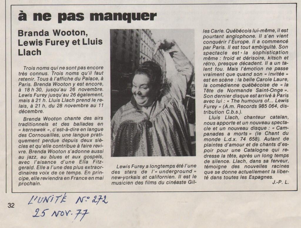 L'Unité, 25 novembre 77 : Brenda Wootton, Lluis Llach & Lewis Furey