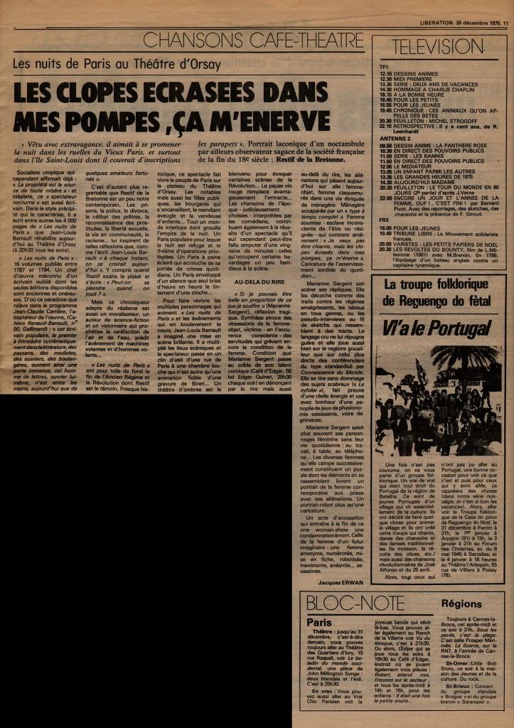 Les nuits de Paris - Libération 30 décembre 1975