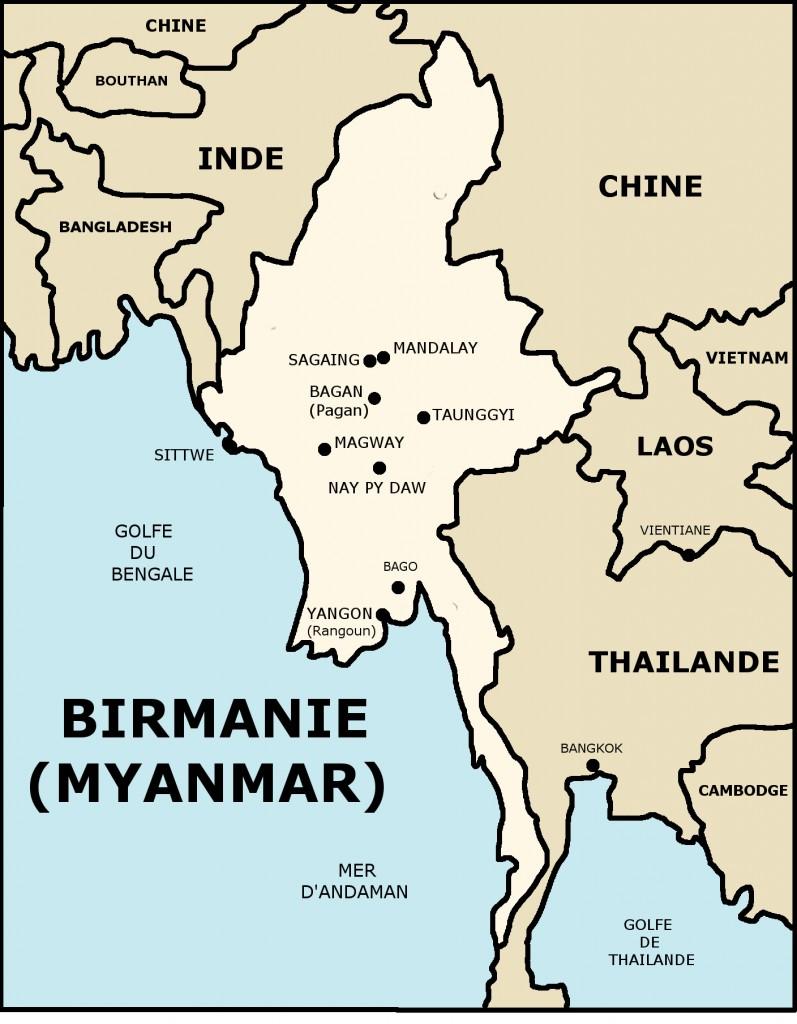 CARTE DE BIRMANIE (MYANMAR)