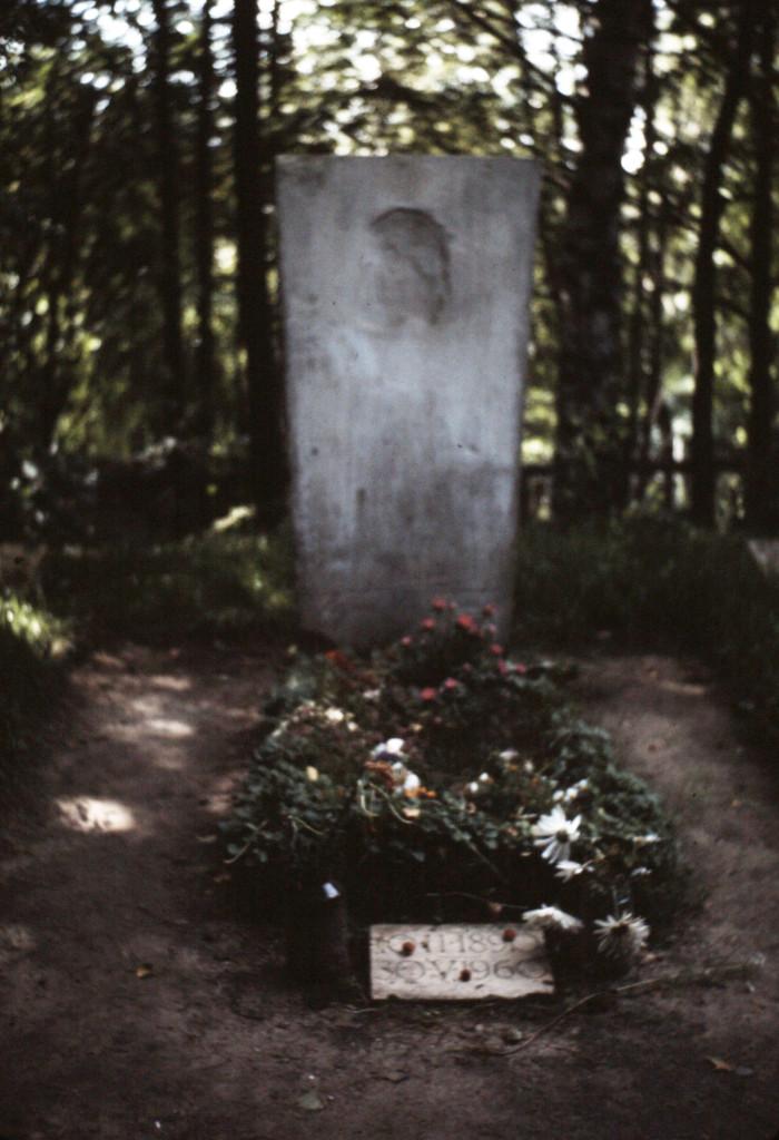 A PROXIMITE DE LA DATCHA DE ANDREI VOZNESSENSKI, ON DECOUVRE, EN SA COMPAGNIE, LA TOMBE DE BORIS PASTERNAK (1890-1960), CREUSEE DANS LA NATURE.
