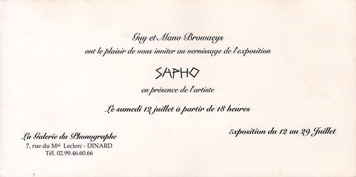 Carton d'invitation, exposition Sapho 1997