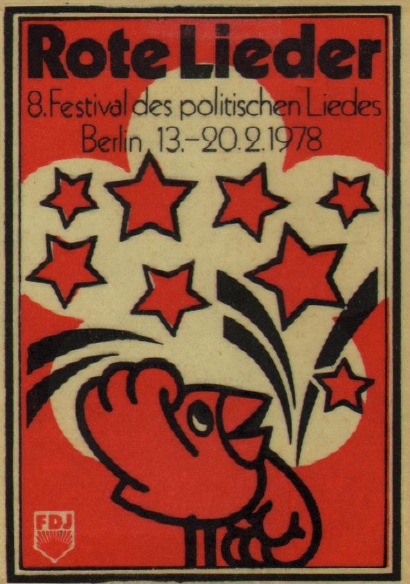 """Autocollant du 8ème Festival des chansons politiques, """"Rote Lieder"""" (chansons rouges) en février 1978, à Berlin."""