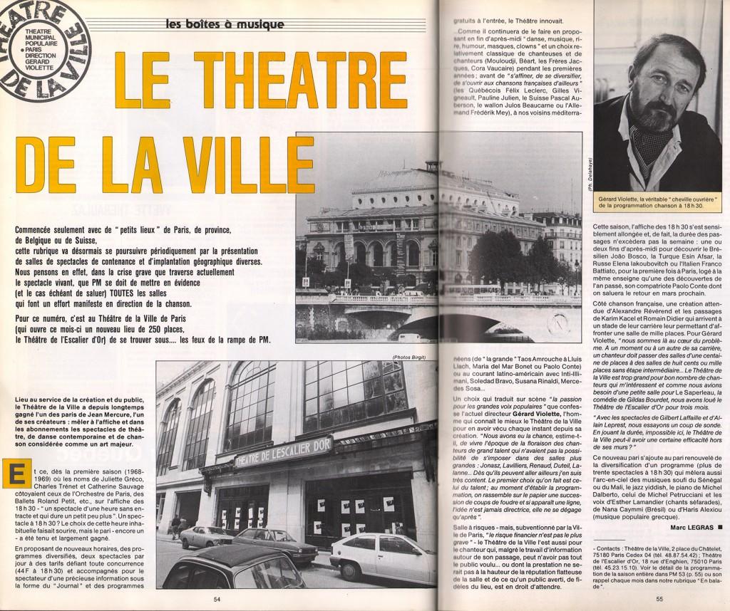 Article de Marc Legras dans Paroles et Musique, 1985. C'est cette année là que Jacques Erwan devient conseiller musique adu Théâtre de la Ville, auprès de Gérard Violette.