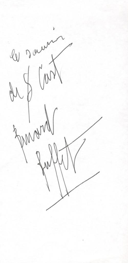 Autographe de Bernard Buffet