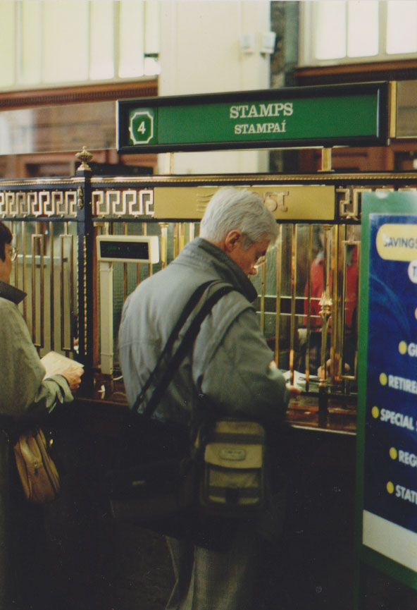 Jacques Erwan, mission France Culture pour l'Imaginaire Irlandais, Dublin, General Post Office, 1996 - Photo : Xavier Yerlès