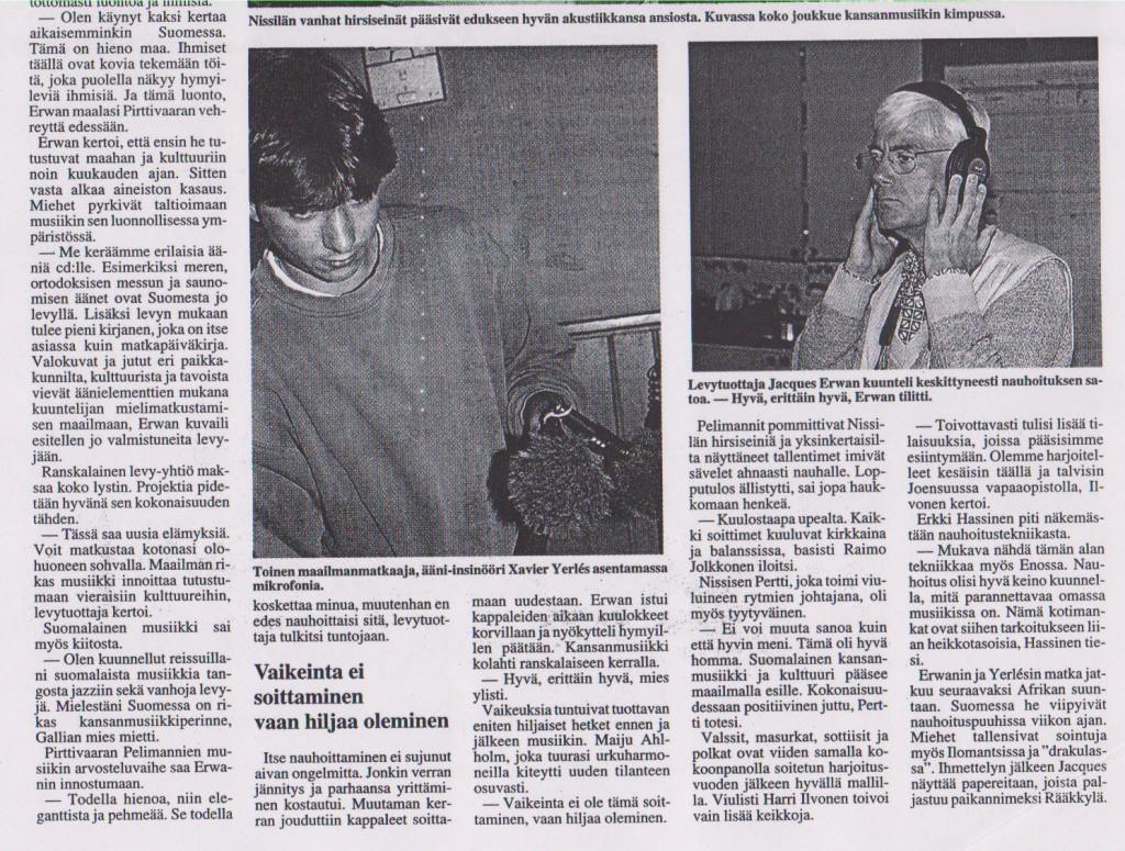 Torstaina (journal finlandais), 20 août 1998 (suite)