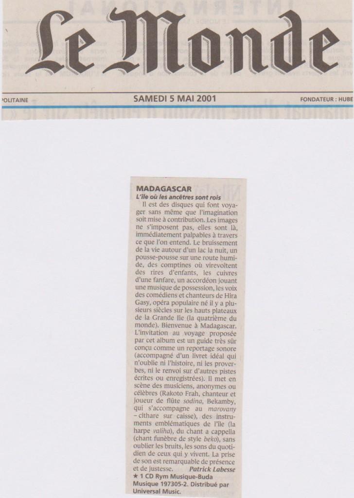 Le Monde, 5 mai 2001