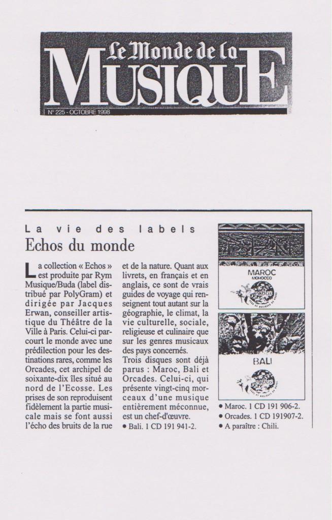 Le Monde de la Musique, octobre 1998