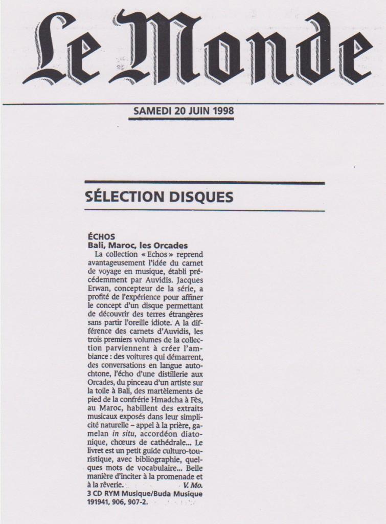 Le Monde, 20 juin 1998