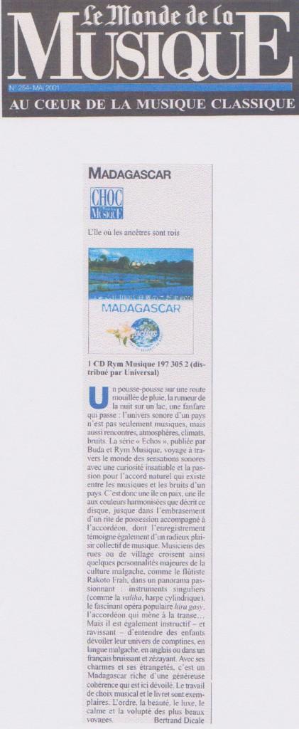 Le Monde de la Musique, mai 2001